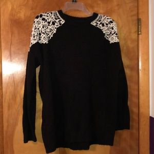 Black lace shoulder sweater from Forever 21